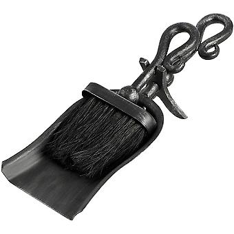 Hill Interiors Black Brushed Steel Crook Top Hearth Tidy Set