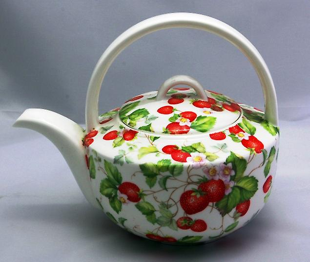 English Bone China Teapot Strawberries