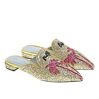 Chiara Ferragni flats pointed mules sandals in gold glitter