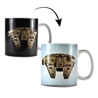 Star Wars Thermoeffekt Tasse Falcon weiß, bedruckt, aus Keramik, Fassungsvermögen: 400 ml., im Geschenkkarton.