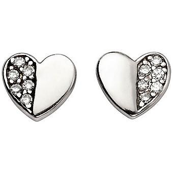 Alkaa Cubic Zirkonia puoli tasoittaa sydän korvakorut - Silver/Clear