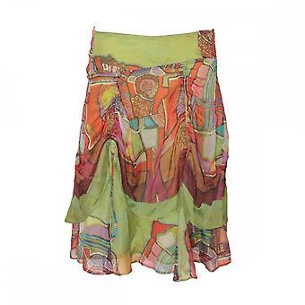 《 アヴァンチュール 》 デ Toiles シルク マルチ プリント スカート