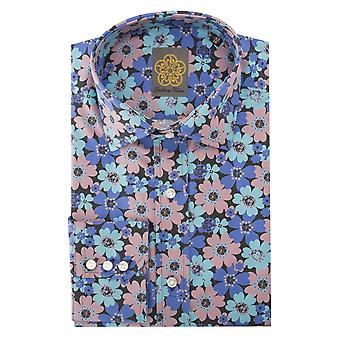 Gresham Blake Blue And Purple Flower Mens Shirt