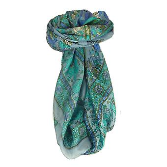 Mulberry traditionella Square sidenscarf Usman Light Blue av Pashmina & Silk