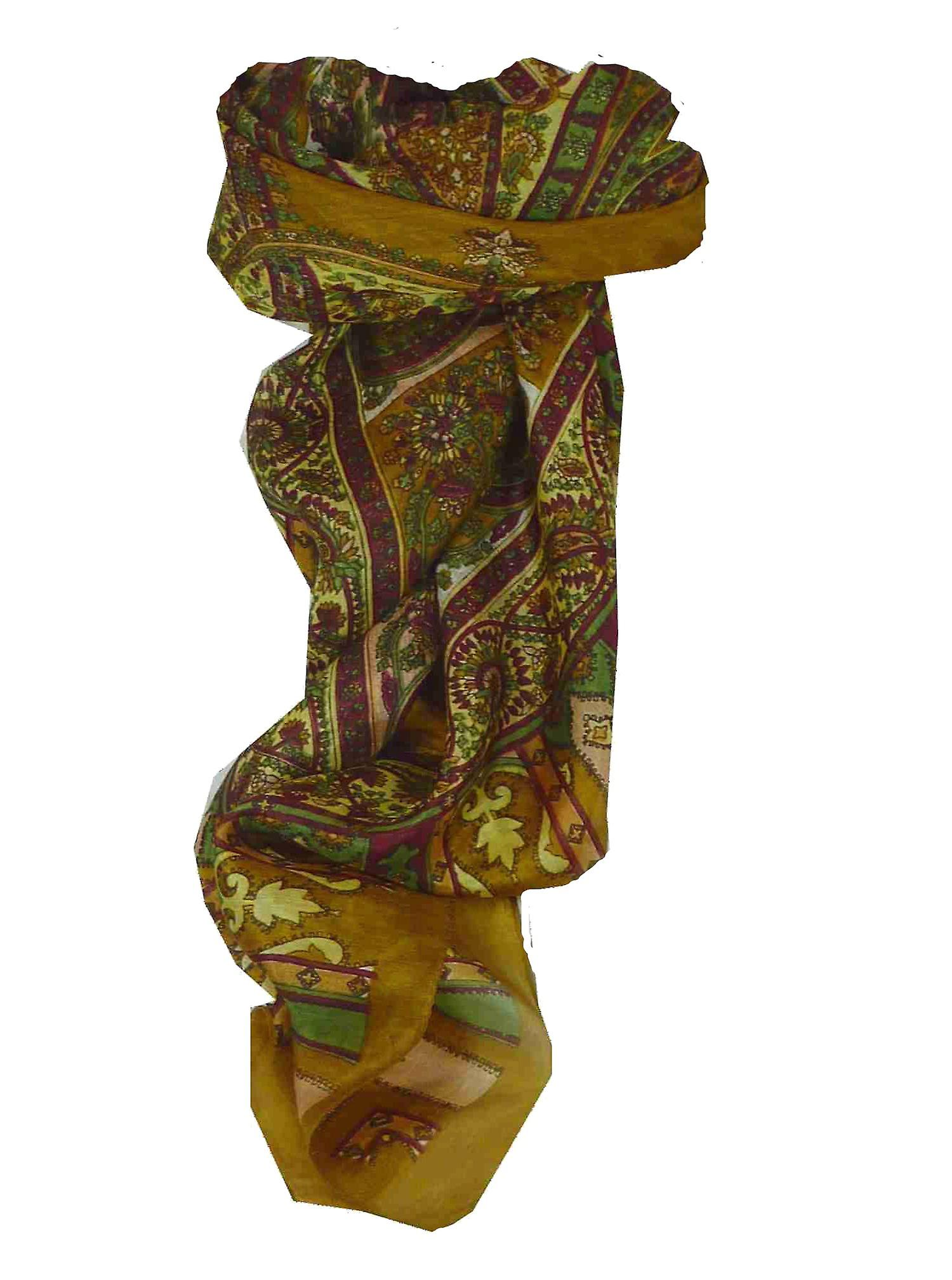 Mulberry Silk Traditional Square Scarf Aimee Gold by Pashmina & Silk