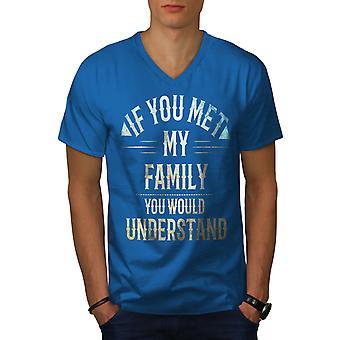 Family Crazy Funy Men Royal BlueV-Neck T-shirt   Wellcoda
