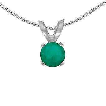 LXR 14k White Gold Round Emerald Pendant 0.19 ct