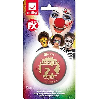 Smiffys Make-Up FX, Red, Aqua Face and Body Paint, 16ml, Water Based