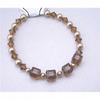 Topaz kristallen bruiloft armband bronzen parels Swarovski gerookt