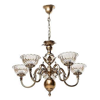 Glasberg - antik mässing fem ljus ljuskrona med tonade glas nyanser 411010905