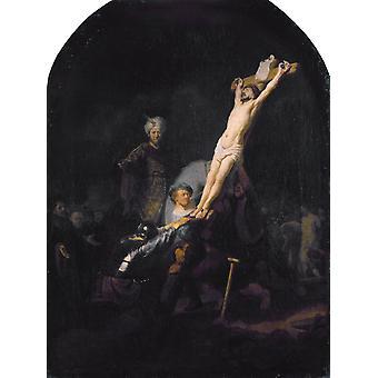 Die Erhöhung des Kreuzes, Rembrandt, 50x37cm
