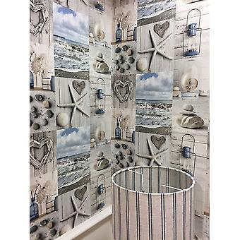 Beach Wallpaper Nautical Bathroom Pebbles Love Hearts Blue Grey Rustic Maritime