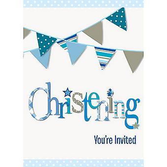 Unieke partij Bunting doop uitnodigingen (Pack van 8)