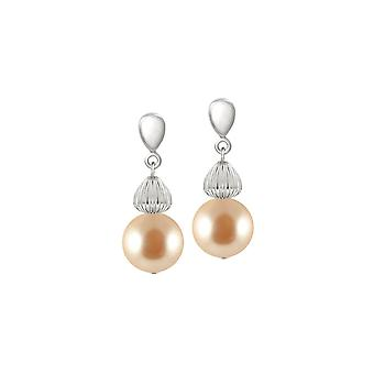 Eternal Collection Solitaire Peach Pearl Silver Tone Drop Pierced Earrings