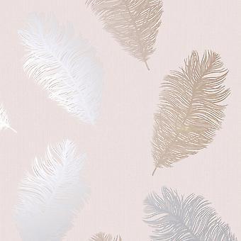Penas de papel de parede Glitter Metálico Rosa Ouro Prata Rosa Rosa Texturas Holden