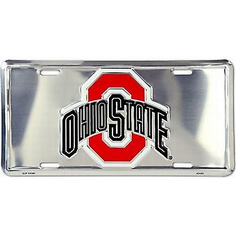 Ohio State Buckeyes NCAA Silver Mirror License Plate