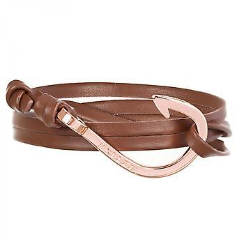 Rope Kirby rose gull polert krok/brun Lær armbånd HLB-03RGP-L04