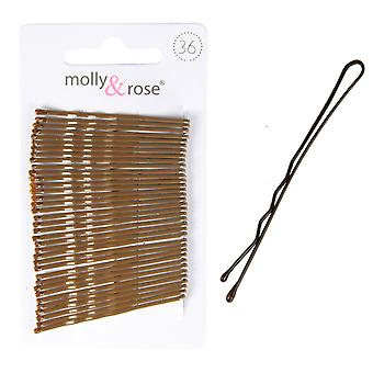 Molly & Rose Brown capelli Grips 45mm 36 Pack X 3