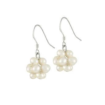 Eternal Collection Cluster White Freshwater Pearl Sterling Silver Drop Pierced Earrings