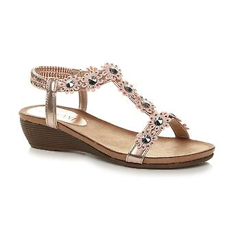 Ajvani Womens mid heel diamante flower slingback strap summer T-bar sandals