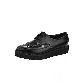 TUK Shoes Black Leather Tie Pointed Creeper