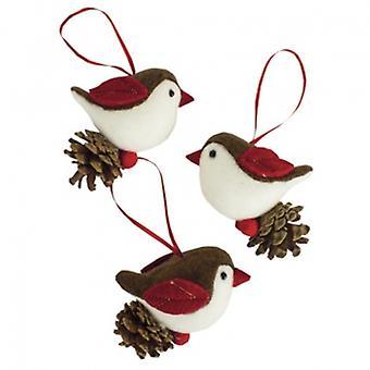 Heaven Sends Set Of 3 Fabric Bird Christmas Tree Decorations
