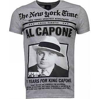 Al Capone-strass T-shirt-grå