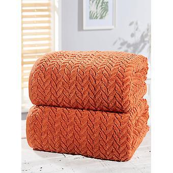 Herringbone 2 kpl pyyhe paali oranssi