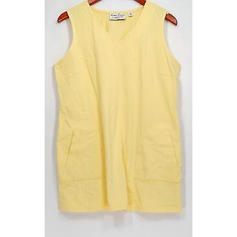 Linea por Louis Dell ' Olio Top malha V-Neck túnica tanque amarelo A290991