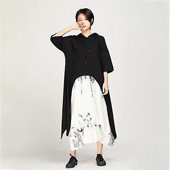 Hooded Half Sleeve Loose Oversize Mid-calf One Piece Dress