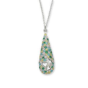 925 Sterling Silver Spring Ring CZ Cubic Zirconia Simulerade Diamond Cheerdrops 18inch Halsband Smycken Gåvor för kvinnor