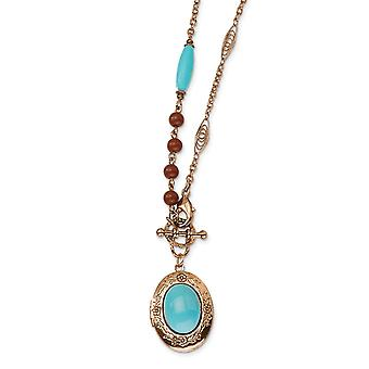 Decorative Toggle Fancy Lobster Closure Copper tone Aqua and Brown Beads 16inch Locket Necklace Jewelry Gifts for Women
