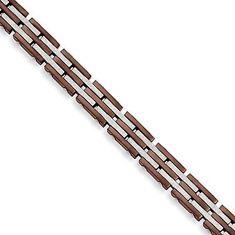 Stainless Steel Brushed Laser cut Fold over Brown IP plated Ip Brown Plated and Laser Cut 8.25inch Bracelet Jewelry Gift