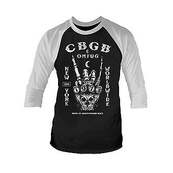 CBGB T Shirt Est 1973 Logo new Official Mens Black 3/4 Sleeve Baseball