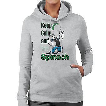 Popeye Keep Calm And Eat Spinach Women's Hooded Sweatshirt