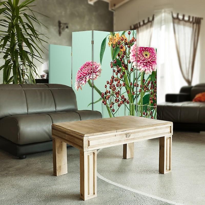 Diviseur de salle décorative, 5 panneaux, toile, Gerbera 2