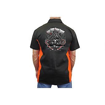 "Trabajo mecánico motorista camisa ""Let It Ride ases"" negro/naranja"