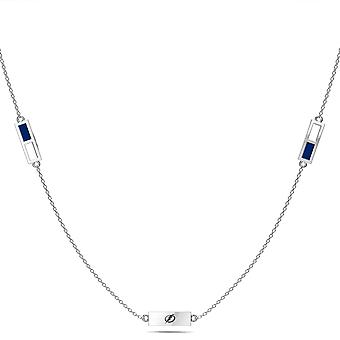Tampa Bay Lightning Sterling Silver Engraved Triple Station Necklace In Blue & White