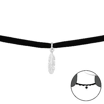 Feather - 925 Sterling Silver + Velvet Chokers - W33978X