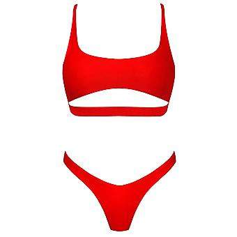 Byoauo Womens Straps Cutout Bikini Cheeky Bottom Two Pieces Swimsuits (XL, Red)