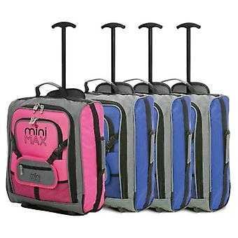 Minimax (45x35x20cm) childrens luggage carry on suitcase with backpack and pouch (x3 blue + x1 pink)