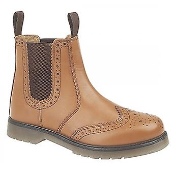 Grafters Dudley Mens Leather Brogue Air Cushion Sole Dealer Boots Tan