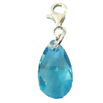TOC Sterling Silver Crystal Blue Pear Shape Charm made With Swarovski Crystals