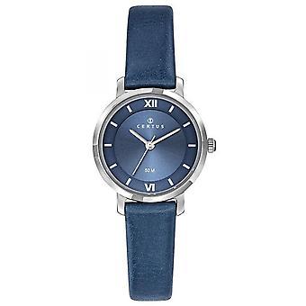 Klocka Certus 644432-silver Steel Box rund kvinnors blå läderarmband