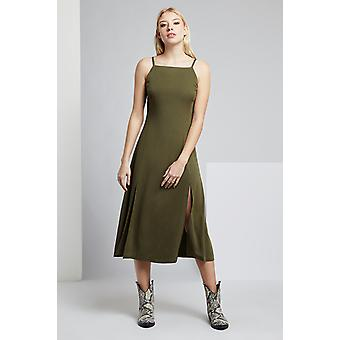 Louche Lubin Twill Square Neck Midi Dress Khaki