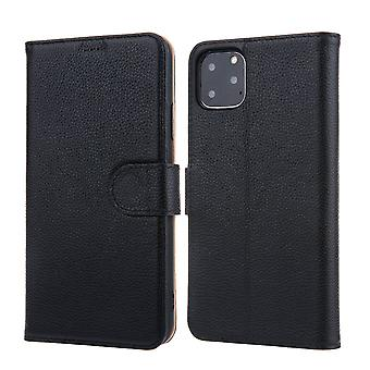 Pour iPhone 11 Pro Max Case Cowhide Genuine Leather Wallet Protective Cover Black