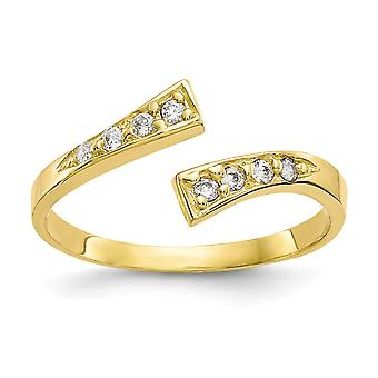 2mm 10k CZ Zirconia cúbico simulado diamante toe anillo joyería regalos para las mujeres
