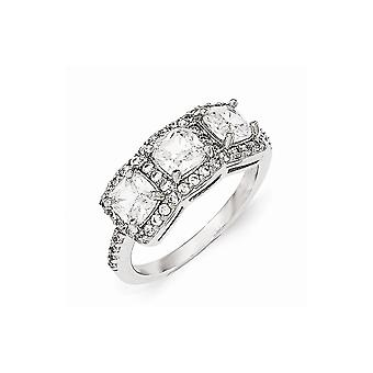 Cheryl M 925 Sterling Silver CZ Cubic Zirconia Simulated Diamond 3 Stone Ring Size 8 Jewelry Gifts for Women
