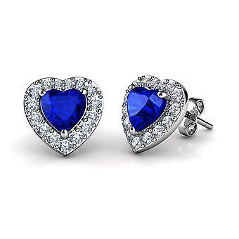 Dephini blue heart earrings  925 sterling silver stud earrings cz