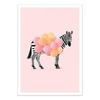 Plakat artystyczny - Balon Zebry - Paul Fuentes